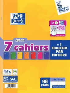 Oxford Scolaire Cahier agrafé 24x32cm 96 Pages 90g Lot de 7
