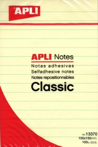Bloc APLI NOTES repositionnables 100X150 avec lignes 13370