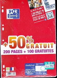 Oxford Scolaire Feuilles simples perforées A4 21x29,7cm 90g Grands carreaux 300 pages de Oxford
