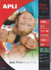 Papier photo Apli Best price paper 140 g brillante glossy 100 FEUILLES
