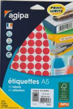 Apli 114313 étiquettes A5 multi-usage Rouge diametre 15