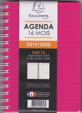 Agenda exacompta SAD 13W Linicolor 9x13 cm version 2019- 2020  format poche 13447E