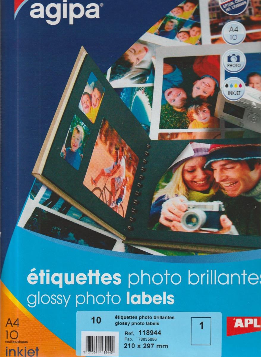 agipa 118944 papier photo brillantes autocollant a4 pour imprimantes jet d 39 encre. Black Bedroom Furniture Sets. Home Design Ideas