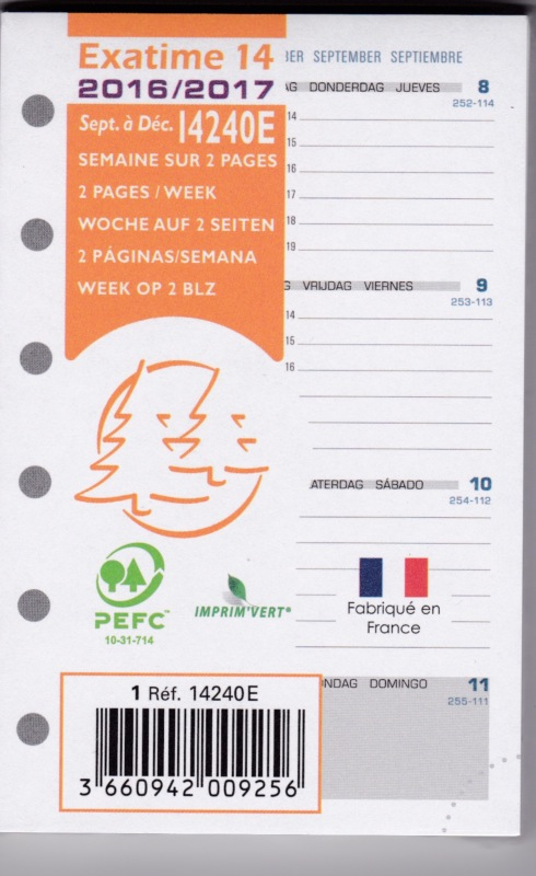 Recharge exatime 14 pour agenda scolaire 14240e 8 1x12 6cm - Fournitures de bureau pour particuliers ...