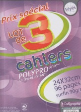 Clairefontaine  Cahier Polypro  Grands carreaux sans spirales 96 pages 24 x 32 Assortis Lot de 3