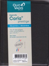Quo Vadis Sahara CARLA PRESTIGE Agenda civil Semainier 8x10,5cm Noir Ann/ée 2021