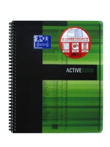 1 OXFORD OFFICE ACTIVE BOOK ETUDIANT ACTIVEBOOK SPIRALE 180 PAGES COULEURS ASSORTIES