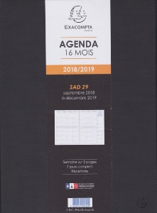 EXACOMPTA Agenda SAD 29 Winner Noir 2018-2019 21x29.7cm Semainier