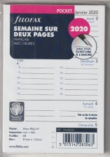 FiloFax Recharge POCKET SEM/2 PAGES FRANCAIS 2020  20-68231