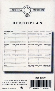 Agenda Moderne recharge Hebdoplan INT 2001 Version 2020