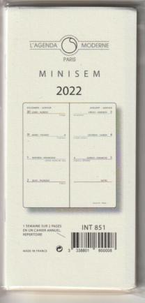 INT 851 Recharge  agenda Moderne 2020 MINISEM 1 S / 2 Pages- Tranche Or