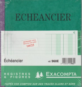 Exacompta 960E cahier Echeancier 80 Pages