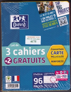 Oxford Scolaire Cahier agrafé  96 Pages 90g 17x22 cm séyès grands carreaux Lot de 5