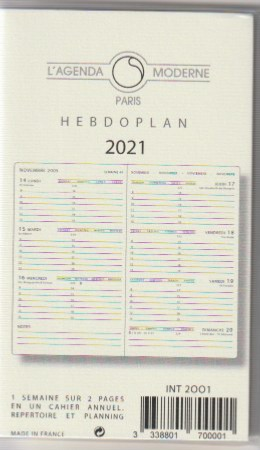 Agenda Moderne recharge Hebdoplan INT 2001 Version 2021